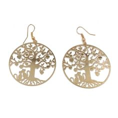 2015 Womens Fashion Accessory Gold Color Big Tree Cats Pendant Dangle  Earrings #Fashion #Earrings