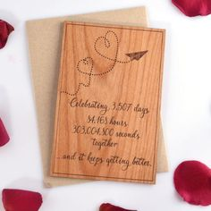 Valentines Day Wood Card - 5th Year Anniversary Gift - Paper Plane Love