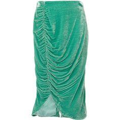 Vivetta knee length velvet skirt ($439) ❤ liked on Polyvore featuring skirts, green, green skirt, green velvet skirt, asymmetrical draped skirt, green knee length skirt and draped skirt
