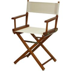 Director's Chair Honey Oak Frame in White Canvas - Casual Home a variety of uses for this classic-style director's chair. This portable director's chair folds up an out easily, so you can move it from room to room or transport it Cool Bars, Folding Chair, Folding Furniture, Wood Construction, Modern Chairs, Cool Furniture, Accent Furniture, Outdoor Chairs, Outdoor Spaces