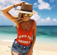 BEACH YOU Funny Casual Sexy Swimsuit Women Bodysuit Summer Bathing suit suits Fashion Swimwear Jumpsuits Rompers