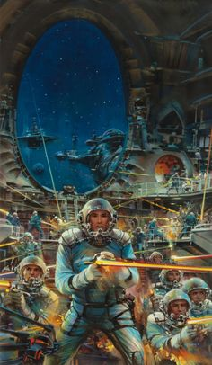 Pulp, Pulp-like, Digests, and Paperback Art, JOHN CONRAD BERKEY (American, 1932-2008). Galactic Convoy,paperback cover, 1987. Casein and acr...