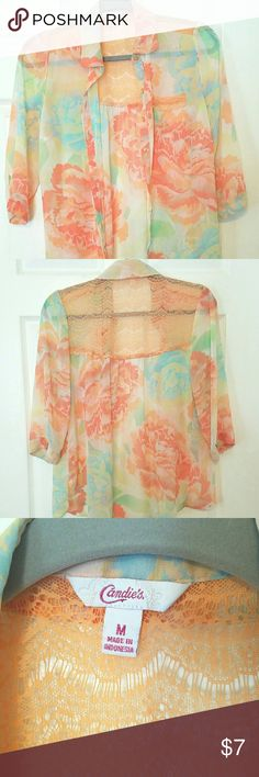 Blouse Flowy, sheer blouse with pastel tones and beautiful lace details. Candie's Tops Button Down Shirts