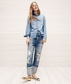 J.Crew women's everyday chambray shirt, Point Sur distressed selvedge jean with long cuff and Lily ballet flats in crackled leather.