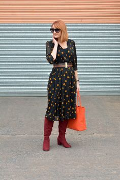 Vintage 70s polka dots dress, burgundy boots, orange tote | Not Dressed As Lamb by @notlamb