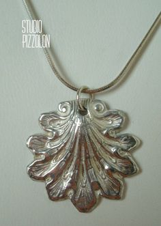 FINE SILVER, PMC SHELL PENDANT NECKLACE, STERLING SILVER by STUDIO PIZZOLON, $49.95 USD