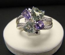 925 STERLING SILVER PURPLE & GREEN AMETHYST DIAMOND RING SIZE 6.25 HEART ROUND