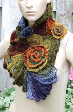 Unique scarf made Freeform method. Warm and pleasant to the touch. Color used : shades green, blue, brown One of a kind Size: One size fits all irregural shape approx materials used: Freeform Crochet, Crochet Art, Crochet Shawl, Crochet Stitches, Free Crochet, Knitting Patterns Free, Hand Knitting, Crochet Patterns, Crochet Neck Warmer