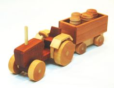 Wooden Toy Truck - Classic Farm Tractor with Trailer - Natural Hardwood on Etsy, $38.00