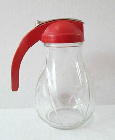 Red Handle Glass Syrup Pitcher Dispenser / by looseendsvintage