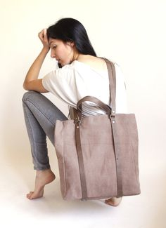 Taupe Leather Tote Bag Cross Body Bag  Every Day by LadyBirdesign, $240.00