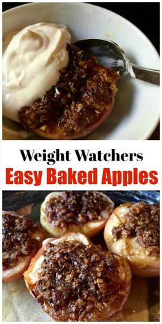 WW Freestyle Recipes: Easy Healthy Simple Baked Apples, Family Favorite, 136 calories, 2 or 3 WW SmartPoints depending on toppings used via healthy baking Healthy Baked Apples Köstliche Desserts, Healthy Dessert Recipes, Healthy Baking, Healthy Snacks, Baked Apples Healthy, Dinner Healthy, Healthy Desserts With Fruit, Simple Healthy Meals, Baked Food