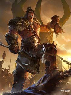 ArtStation - Warlords of Draenor, arc noir Grom Hellscream, Grommash Hellscream, Orc Warrior, Fantasy Warrior, Fantasy Races, Fantasy Art, Dark Souls, Warlords Of Draenor, War Craft