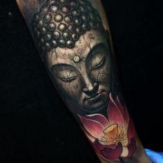 50 Brilliant Buddha Tattoos and Ideas with Meaning # Brilliant # Buddha # Ideas # Tattoo . Buddha Tattoo Design, Buddha Tattoos, Buddhist Symbol Tattoos, Symbolic Tattoos, Buddha Lotus Tattoo, Hand Tattoos, Tattoos 3d, Forarm Tattoos, Sleeve Tattoos