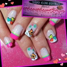 En honor a una nena que trabaja super Girls Nail Designs, Square Nail Designs, Nails For Kids, Girls Nails, Gold Glitter Nails, Neon Nails, Valentine Nail Art, Holiday Nail Art, Crazy Nails