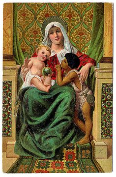 Vintage Christmas Clip Art - Madonna and Children - The Graphics Fairy