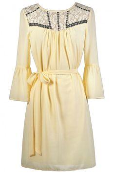 Cream Bell Sleeve Dress, Boho Hippie Dress, Embellished Stud Cream Dress, Cute Fall Dress