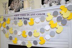 Duckling garland, rubber duck banner, ducky paper garland, ducks in a row, grey yellow ducks, baby shower banner, rubber ducky decoration