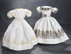 """What Finespun Threads"" - Antique Doll Costumes, 1840-1925 - March 12, 2017: 22 White Pique Gown with Ecru Soutache"