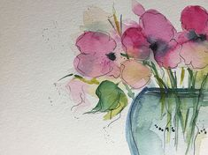 Pink Flowers Art Print featuring the painting Watercolor Pink Flowers In The Vase by Britta Zehm