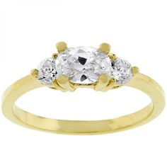 Oval Serenade Triplet Ring In Goldtone – MNM Gifts