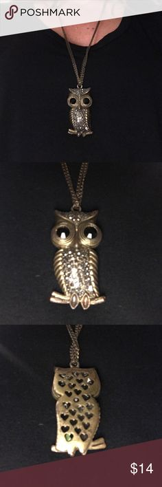 Owl necklace Gold-ish owl necklace with gem eyes and detail. This piece has been worn with love. It's in perfect condition. Owls are so in.....they never really even went out. Everyone loves this necklace and I have gotten compliments on it a lot. Jewelry Necklaces