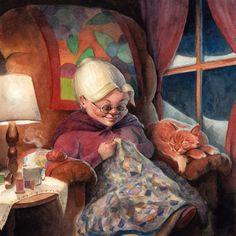 Knitting with cat...By Scott Brundage