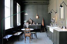 Dark Kitchen In Artilleriet Studio In Gothenburg - Gravity Home Black Kitchens, Home Kitchens, Kitchen Interior, Kitchen Design, Dark Green Kitchen, Dark Kitchen Cabinets, Green Cabinets, Scandinavian Kitchen, Shop Interior Design