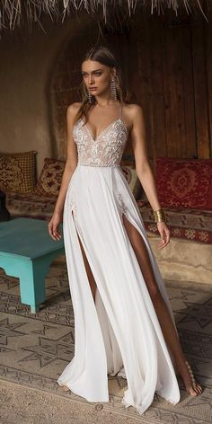 sweetheart wedding dresses a line with spaghetti straps lace beaded top beach asaf dadush bridal