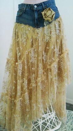 frou frou Renaissance Denim Couture bohemian jean skirt Made to Order https://www.etsy.com/listing/77866495/belle-bohemienne-exquisite-vintage-beige