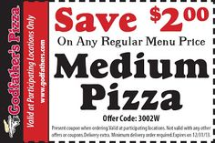 Godfathers Pizza Coupons Ends of Coupon Promo Codes MAY 2020 ! Days hangouts guys starts smelled making great wall and Willy, this t. Free Printable Coupons, Free Printables, Pizza Hut Coupon, Godfathers Pizza, Pizza Coupons, Small Pizza, Gluten Free Pizza, Salad Bar