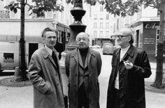 Emil Cioran, Eugène Ionesco and Mircea Eliade on the Furstenberg square in Paris, France, Emil Cioran, Eugene Ionesco, Writers And Poets, Photomontage, Old Photos, Black And White, People, Pictures, Bucharest