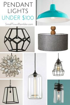 Pendant lights under $100 from Target, World Market, Amazon, and Shades of Light. #Lighting