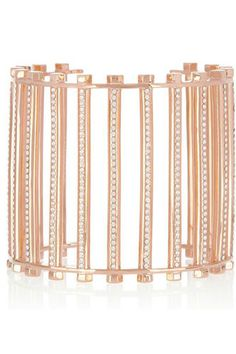 Eddie Borgo Rose Gold-Plated Crystal Grate Cuff, $650