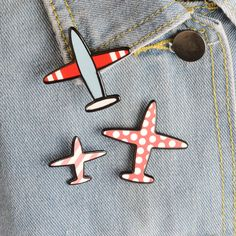 0.99$  Buy here - 3pcsset Cartoon Wave Point Stripe Aircraft Plane Metal Brooch Pins Collar Button Pin Denim Jacket Lapel Pin Badge Gift Jewelry   #buyonlinewebsite