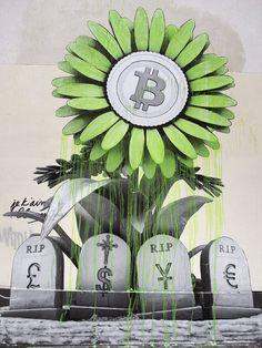 French artist Ludo hit the streets of Paris, France with a thought-provoking new piece of Bitcoin Art. It features a blooming Bitcoin flower rising above the tombstones of four major fiat currencie… Bitcoin Value, Buy Bitcoin, Bitcoin Price, Blockchain, Pineapple Tattoo, Game Wallpaper Iphone, Bitcoin Business, Finance, Crypto Currencies