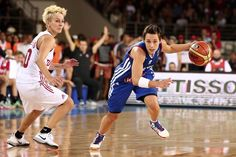 Isil Alben (Turkey) and Celine Dumerc (France) 2014 FIBA World Championship (Women's) Istanbul, Turkey.