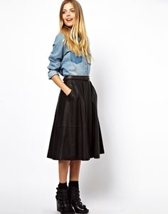 ASOS Midi Skirt in Leather with Pockets