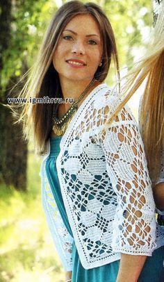 Líneas femeninas. Tselnovyazany chaqueta blanca. Gancho