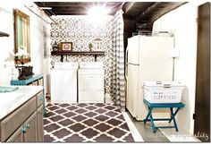 10 Beautiful Ideas for Basement Laundry Rooms - hang a curtain to hide furnace from laundry area.