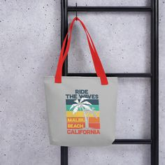 A spacious and trendy tote bag to help you carry around everything that matters. Malibu Beaches, Reusable Tote Bags, Fabric, Accessories, Tejido, Tela, Cloths, Fabrics, Tejidos
