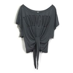 Fashion Cropped Bat Sleeve T-shirt With Knot Detail ($26) ❤ liked on Polyvore