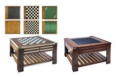 This beautiful multi game table is made from cherry wood with a contrasting Ivory inlay finish to the chess top and alternative top ends. Multi Game Table, Outdoor Furniture Sets, Outdoor Decor, Table Games, A Table, Foot Stools, Side Tables, Wood, Interior