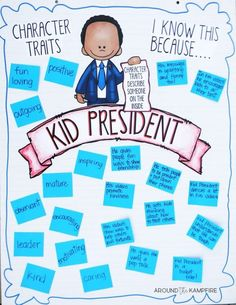 Teaching With Kid President Videos-Lesson 7- Inferring character traits class anchor chart after watching the videos.
