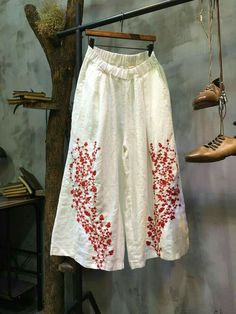 High-Quality Floral Embroidered Palazzo Pants Linen Wide Leg White Pants in White One Size White Palazzo Pants, Cute Pants, Embroidered Clothes, Skirt Pants, Linen Pants, Simple Dresses, Wide Leg Pants, Blouse Designs, Personal Style