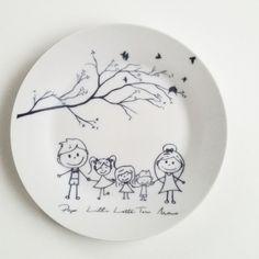 Illustrierter Teller aus Porzellan für die Küche / painted plate made by JU-GrafikDesign via DaWanda.com