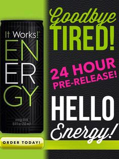 ENERGY DRINKS on the market are not good for you... what if I told you I had one that was a HEALTHIER version of what is out there!?? That is exactly what we have!! Message me for the deep discounts we have with our It Works Energy! No diet pill jitters, no racing heart, no blood sugar spike & no crash!!!