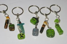 Minecraft themed charms on keyring. Creepers, Zombies and glow in the dark torches.