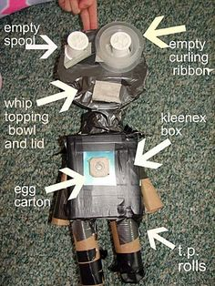 *Take me to your leader. person's recycling is another person's robot! Fun Activities To Do, Toddler Activities, Shaun Tan, Recycled Robot, Genius Hour, School Decorations, Preschool Art, Glue Gun, Tans