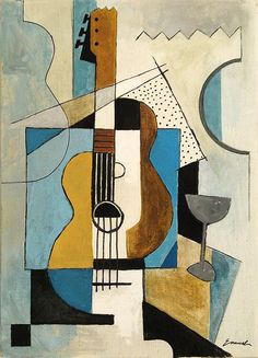 Items similar to Print Art Reproduction best gift Cubist Painting acrylic Art Modern Abstract Guitar Music Instruments Contemporary Signed Emanuel Ologeanu on Etsy Abstract Canvas, Canvas Art, Painting Abstract, Abstract Geometric Art, Canvas Size, Cubist Paintings, Cubist Drawing, Cubist Artists, Modern Art Paintings